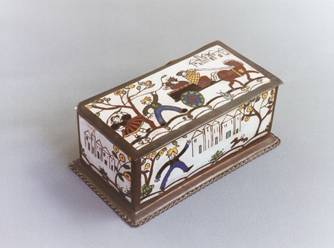Folk Art champleve enamel box made by Dorothy Leviny