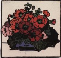 Hand-coloured print by Margaret Preston