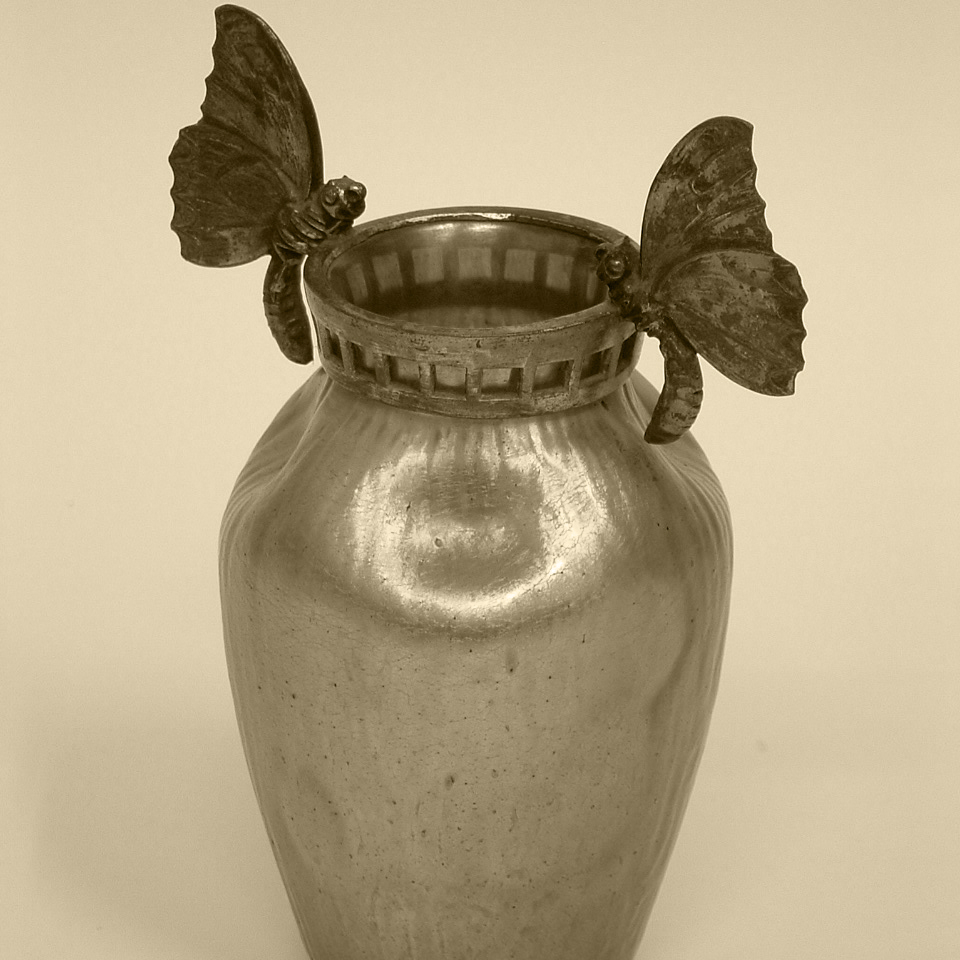 Glass Vase with butterflies