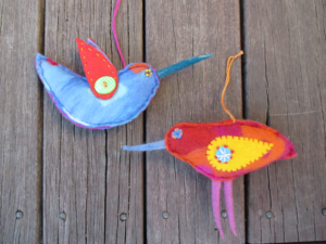 Happy felt birds