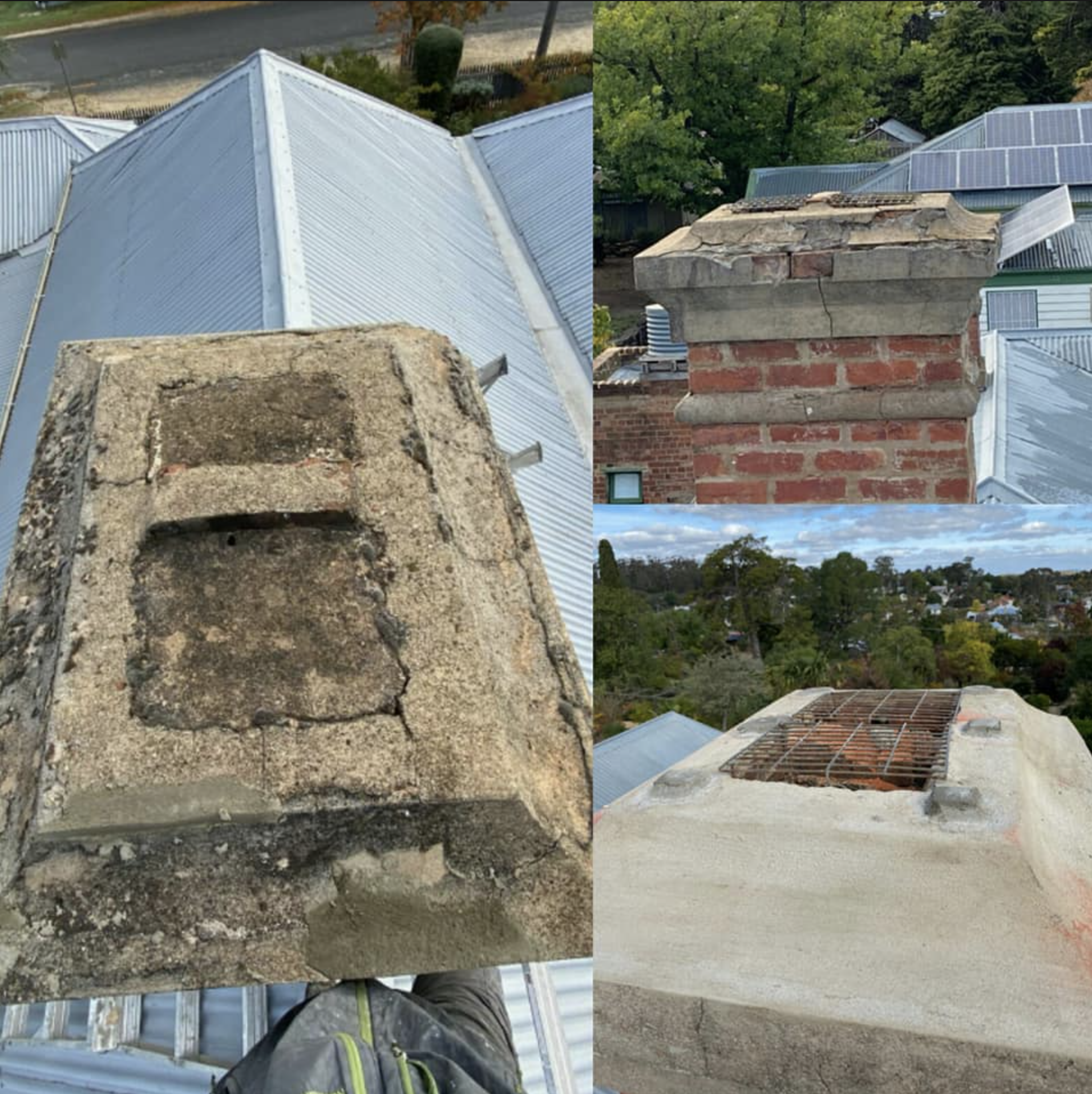 Chimney repairs with addition of small platforms to support slate cappings