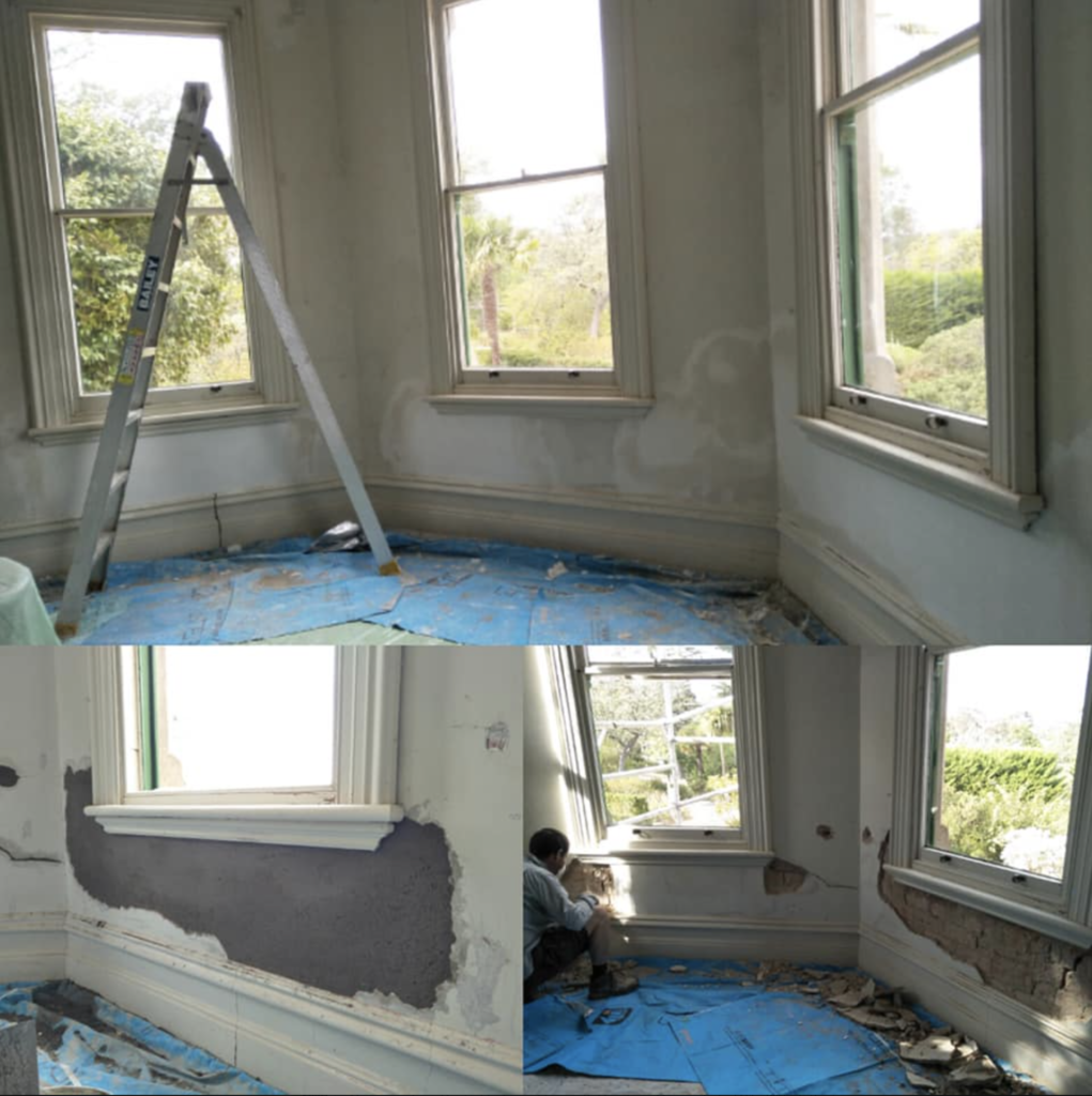 Sitting room plaster work curing - ready for repainting in a few weeks time