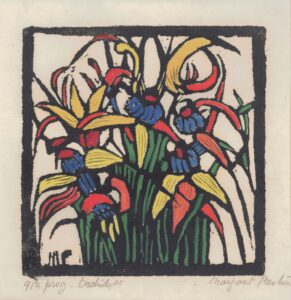 Orchids (1925) Hand-coloured woodcut by Margaret Preston