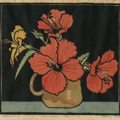 Hibiscus (c1925) Hand-coloured linocut by Ursula Ridley Walker